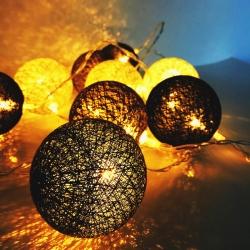 Lampki Cotton Balls 10szt szaro-czarne